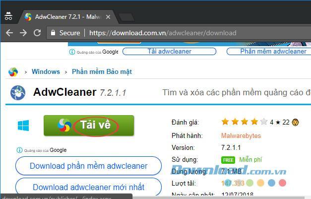 Hướng dẫn loại bỏ Toolbars và Adware bằng AdwCleaner