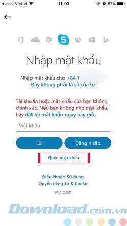 Hướng dẫn lấy lại mật khẩu trên Skype bằng số điện thoại