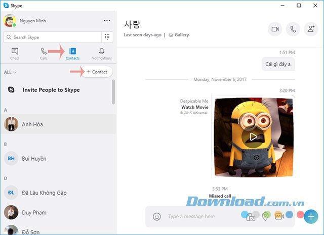 Hướng dẫn thêm mới bạn bè vào danh bạ Skype