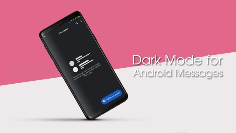 Trải nghiệm trước giao diện nền tối của phần mềm nhắn tin Android Messages