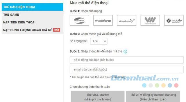 Hướng dẫn mua thẻ, nạp tiền điện thoại online trên Tiki