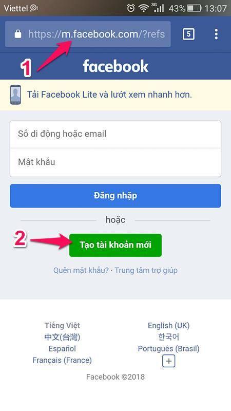 Hướng Dẫn tạo tài khoản Facebook mới an toàn bằng số điện thoại hay email