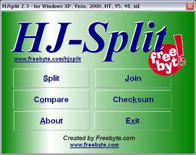 HJ-Split 2.3 Phần mềm chia tách và ghép file miễn phí