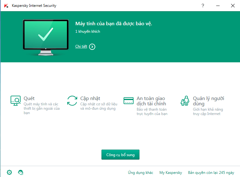Download Kaspersky Internet Security 2016 Bản Repack 260 Ngày